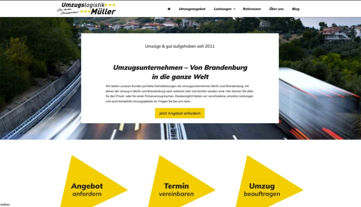 Umzugslogistik Müller Umzugsunternehmen WordPress Website